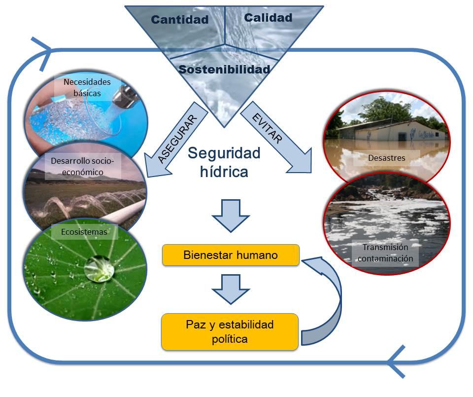Figura 10. Diagrama de la seguridad hídrica y los cinco componen¬tes principales.